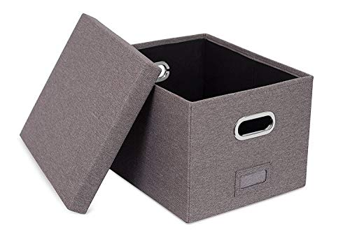 Viluh Collapsible File Box Storage Organizer | Decorative Linen Filing & Office Bin | Letter/Legal | Hanging Folders | Dog Toy Basket | Charcoal Gray | by Viluh