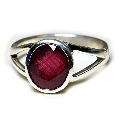 Gemsonclick Natural Ruby 925 Solid Silver Cut Ring 3 Ct July Birthstone Chakra Healing Gemstone Size 5-13
