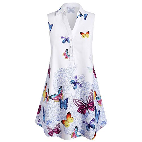 Tunic Blouses for Leggings,SMALLE◕‿◕ Women's Sleeveless Butterfly Print V Neck Henley Tank Tops Blouse Shirts Tunic White]()