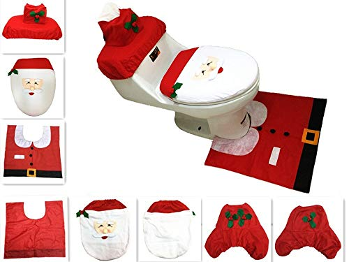 Toilet Mat Accessories Bathroom Rug And Mat Set 3pcs/set Navidad Santa Ornament Snowman Toilet Seat Cover +Rug Bathroom Mat Set Christmas 2019 Xmas Natal Home Decor Wholesale (Random) ()