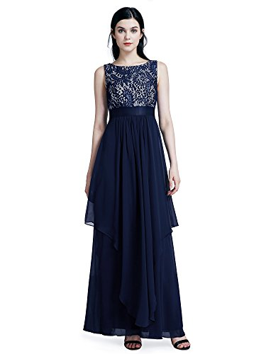 Ever-Pretty Womens Plus Size Sleeveless Floor Length Formal Lace Prom Gown 18 US Navy Blue ()