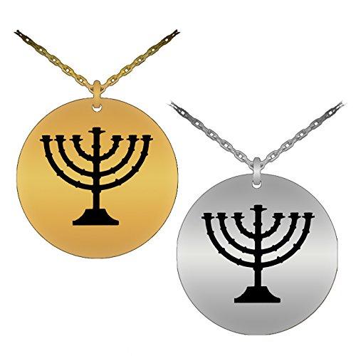 Religious & Symbolic Judaism Menorah Laser-Engraved Pendant Necklace (18K Gold - Menorah Laser