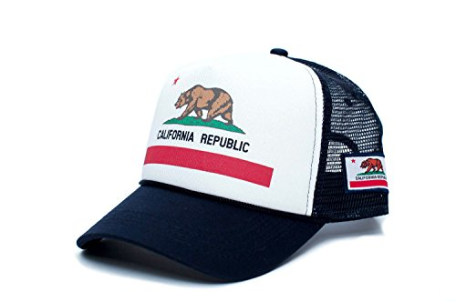 Custom California Republic State Flag Cali Unisex-Adult Trucker Hat Multi (White/Navy)