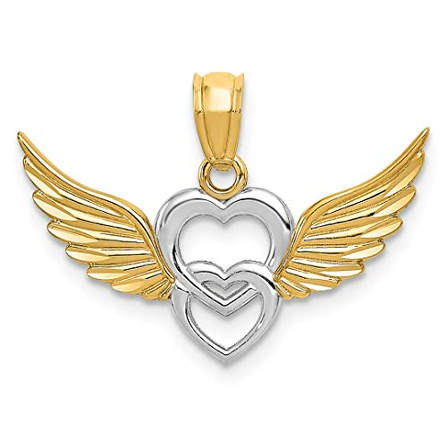 (14k Yellow Gold Heart Wings Pendant Charm Necklace Love Angel Multiple Fine Jewelry Gifts For Women For Her)