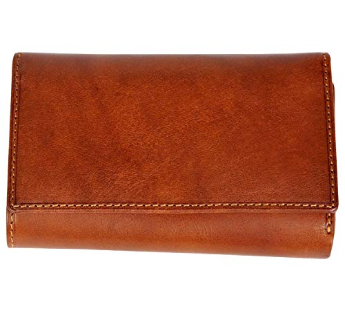 CUSTOM PERSONALIZED INITIALS ENGRAVING Tony Perotti Womens Italian Cow Leather Trifold Euro Clutch Wallet with ID Window and Coin Pouch in Cognac