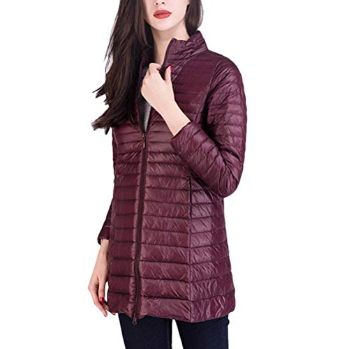 Sleeve Quilted Jackets Winter Jacket Red Dark Autumn Jacket Color with Outerwear Solid Lightweight Casual Padded Quilted Down Mode Adelina Ladies Zipper Pockets Long RAxqP4AZ
