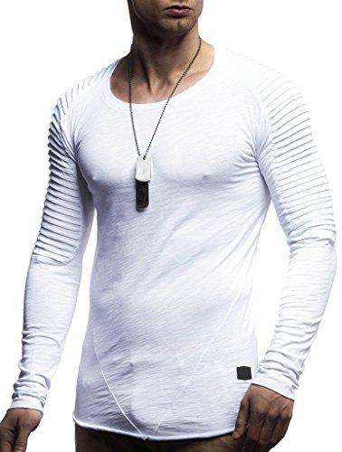 LEIF NELSON Herren Pullover Rundhals-Ausschnitt Slim Fit | Moderner Männer Pulli Sweatshirt Langarm Crew Neck | Herren Hoodie-T-Shirt Langarm in schwarz | LN8170 Weiss Large