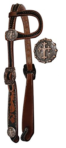 Showman Horse Vintage Style One Ear Headstall with Raised Celtic Cross Conchos with 7' Long Leather Split Reins