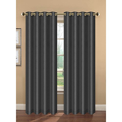 Bella Luna Camilla Faux Silk Room Darkening Extra Wide 108 x 84 in. Grommet Curtain Panel Pair, Charcoal