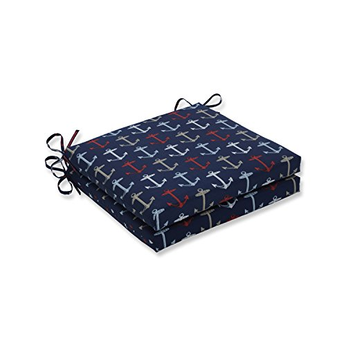 Pillow Perfect Outdoor/Indoor Anchor Allover Arbor Navy Squared Corners Seat Cushion 20x20x3 (Set of 2)