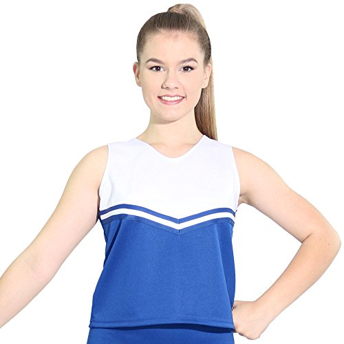 Danzcue Womens V-Neck Cheerleaders Uniform Shell Top, Royal-White, Large ()
