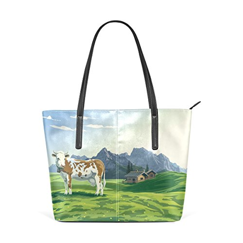 Pu Printing Tote Milk Handbag Leather Women Funny Bennigiry for Shoulder Cow aSnRxqIF