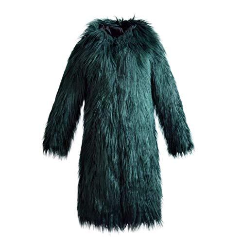 Colori Pelliccia Grün Calda Giacca Giaccone Libero Moda Outerwear Solidi Cappotto Cappotti Manica Lunga Invernali Tempo Donna Di Incappucciato Sintetica Eleganti Grazioso rCodBexW