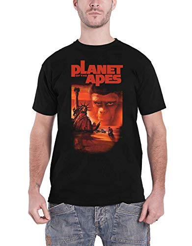 Planet of the Apes T Shirt Movie Liberty Due Tone Logo Official Mens Black Size L ()
