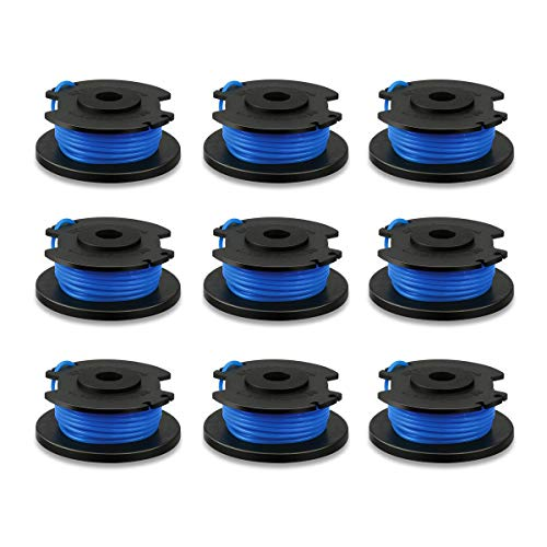 Biowow 9 Pack 0.065 String Trimmer Line and Spool Replacement for Ryobi One+ AC14RL3A Fit 18V, 24V,40V Single Line Trimmers 11ft ()