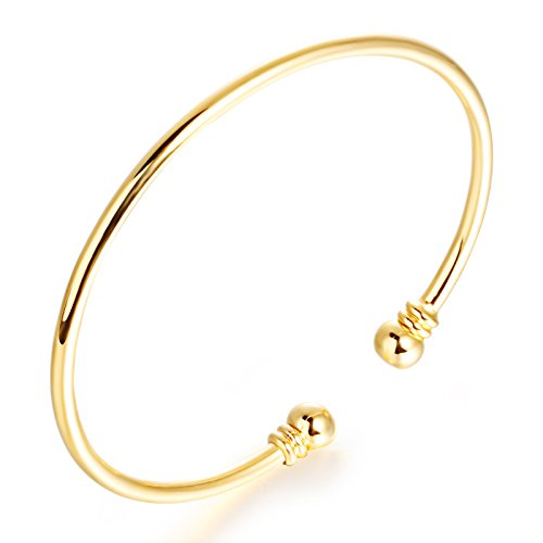 (OPK Jewelry 18k Gold Plated Charm Cuff Bangle Bracelet with Bell 7.28