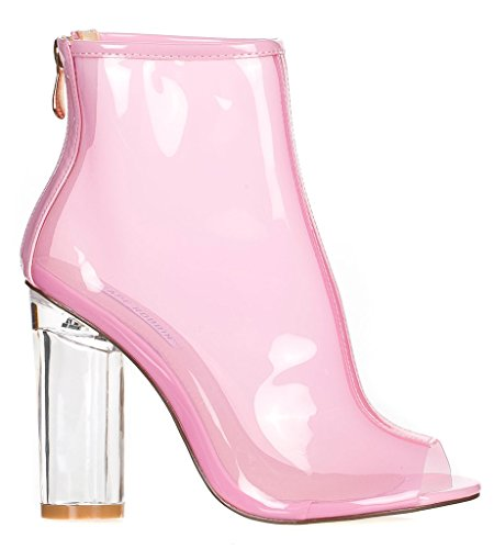 Peep Robbin Womens Perspex BENNY Cape Ankle 1 Pink Boots Toe HxvqXw