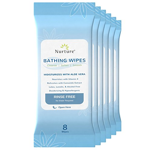 - No Rinse Bathing Wipes (6-Pack) | 48 Microwavable Adult Wash Cloths with Aloe Vera and Vitamin E - Rinse Free Cleansing Body Bath Wipes - Latex, Lanolin, and Alcohol Free - 6 Packs of 8 Wipes