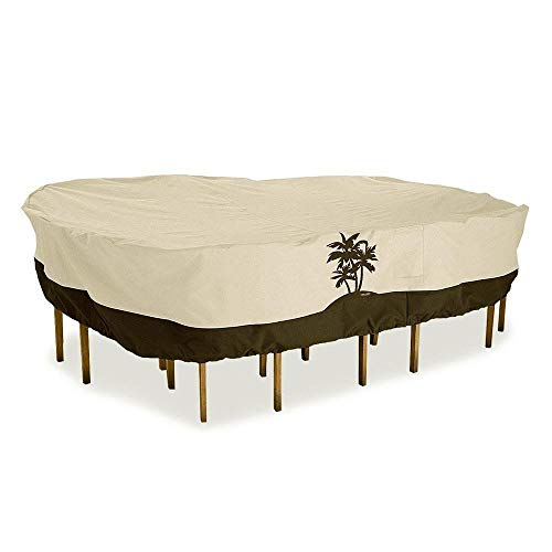 Oak Creek Premium Outdoor Furniture Cover   Patio Table Cover with Air Vents, Click-Close Straps, Elastic Hem Cord   Made of Heavy Duty Waterproof Fabric with PVC Coating   Palm (Oak Designs Furniture)