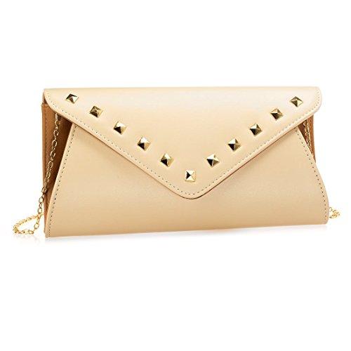 Faux Leather Clutch - BMC Womens Creamy Brown Faux Leather 2 Tone Stud Rivet Accent Envelope Flap Fashion Clutch Handbag