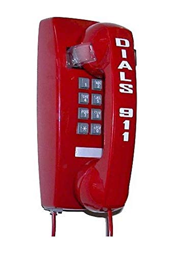 (Industrial-Grade Emergency Wall Phone with Hotline Dialer Pre-Programmed to Auto dial 911 (Off-Hook) - RED by HQTelecom)