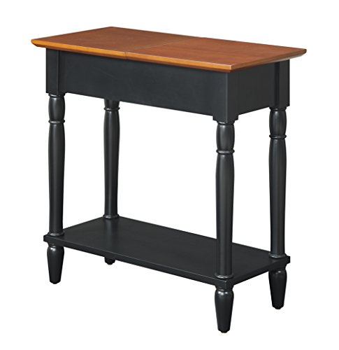 Convenience Concepts French Country Flip Top End Table, Black and - End Country Table Cherry