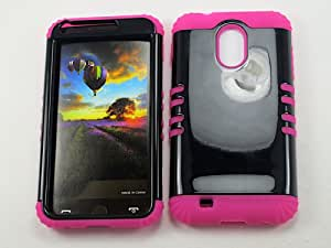 SHOCKPROOF HYBRID CELL PHONE COVER PROTECTOR FACEPLATE HARD CASE AND HOT PINK SKIN WITH STYLUS PEN. KOOL KASE ROCKER FOR SAMSUNG GALAXY S II S2 EPIC 4G TOUCH D710 BLACK MA-A016-G