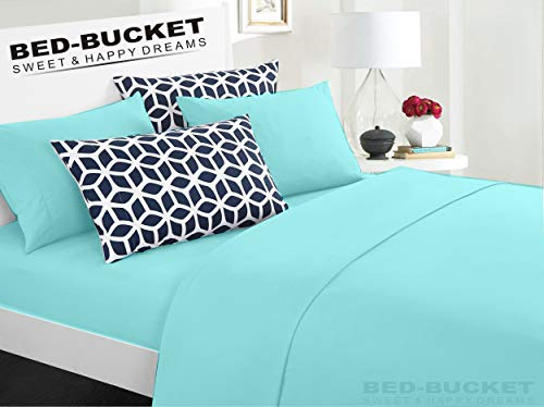 (Bed-Bucket 100% Natural Cotton 800-TC Aqua Solid Single Size Attached Waterbed Sheet Set 4pc 48