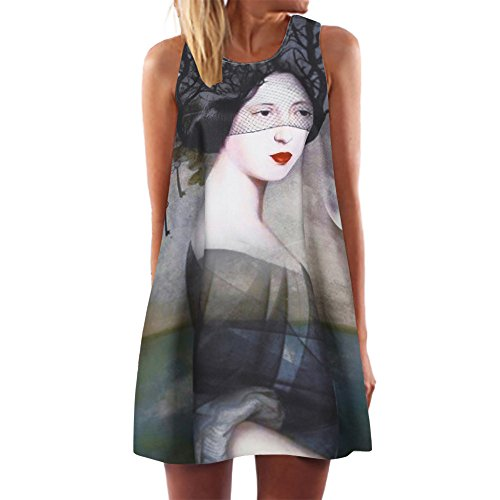 Toamen Women's Dress Women's Vintage Summer Sleeveless 3D Floral Print Mini Dress