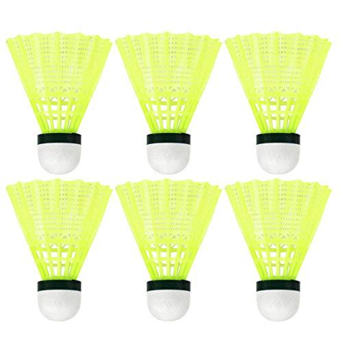 LIOOBO 6Pcs Plastic Badminton Shuttlecocks Sports Badminton Birdies Badminton Playing Feather Balls for Indoor Outdoor Activities