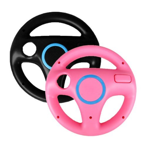 toogoor-2-x-pcs-pink-black-steering-mario-kart-racing-wheel-for-nintendo-wii-remote-game