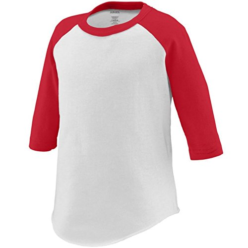Augusta Activewear Baseball Jersey - Toddler, White/Red, 2/3T Augusta Baseball T-shirt