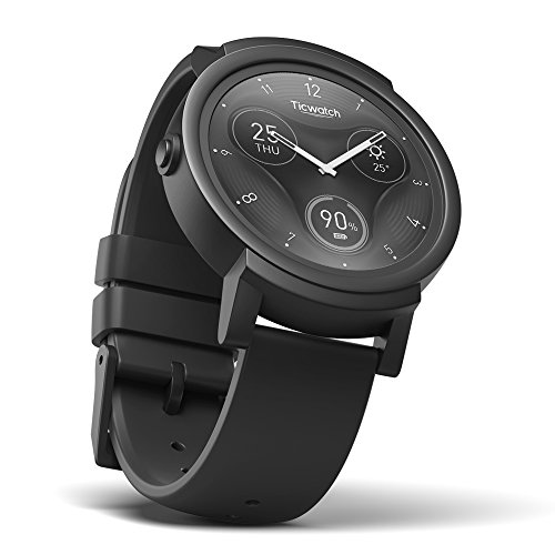 TicWatch E Shadow Smartwatch Intelligente Armbanduhr mit 1,4 Zoll OLED-Display, Android Wear 2.0
