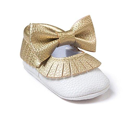 Auxma Baby schuhe mädchen Bowknot-lederner Schuh-Turnschuh Anti-Rutsch weiches Solekleinkind für 0-18 Monate (12(6-12M), Weiß) FF