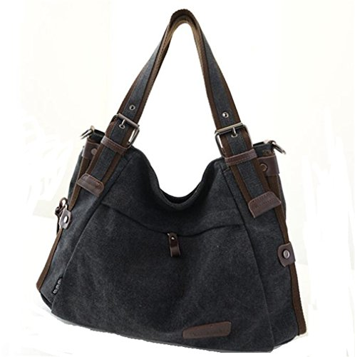 TianHengYi Vintage Women's Canvas Leather Hobo Tote Shoulder Bag Top-handle Handbag Cross Body Purse Black