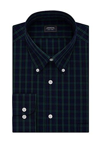 Arrow Men's Big&Tall Classic-Fit Plaid Poplin Wrinkle Free Dress Shirt, Blackwatch