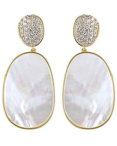 (Shell CZ Drop Dangle Earrings Gold Cubic Zirconia Earrings Bohemian White Big Statement Chandelier Seashell Fashion Hand Handling Bridal Handmade Elegant Charming Dangle Earrings Jewelry for)