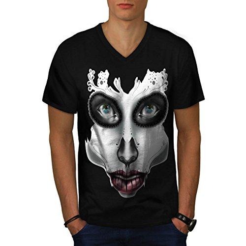 [Sugar Skull Make Up Beauty Face Men NEW S V-Neck T-shirt | Wellcoda] (Sugar Skull Costume Tumblr)