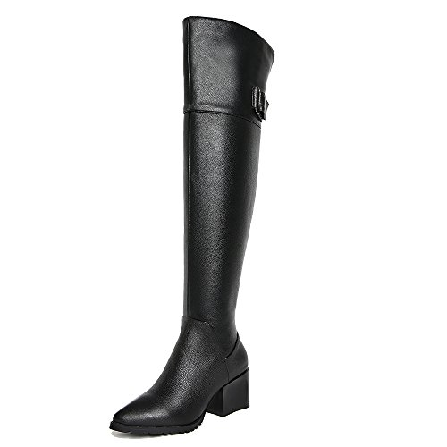 Heel Seven Toe Leather Genuine Block Over Nine Pointed Buckle Women's Handmade Black The Boots Knee High 0wqaBxwR