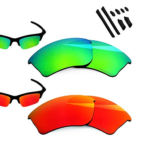 - BlazerBuck Anti-salt Polarized Replacement Lenses for Oakley Half Jacket XLJ - Fire Red & Emerald Green