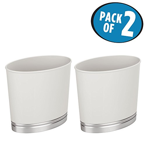 Kids Wastebaskets (mDesign Oval Slim Decorative Plastic Small Trash Can Wastebasket, Garbage Container Bin for Bathrooms, Kitchens, Home Offices, Dorm Rooms - Pack of 2, Light Gray/Brushed Finish Base)