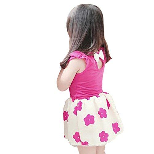 Weixinbuy Kids Girl Sleeveless Flower Princess Party Dress Rose S