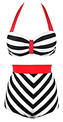 Angerella Retro 50s Black Stripe Vintage High Waisted Bikini Swimsuit