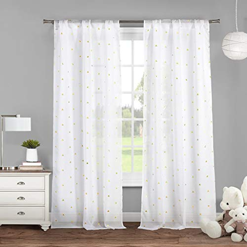Lala + Bash Trina Metallic Pole Top Window Curtain Drapes for Bedroom, Livingroom, Kids Room, Children, Nursery-Assorted Colors-Set of 2 Panels, 38 x 84 Inch, White & Gold ()