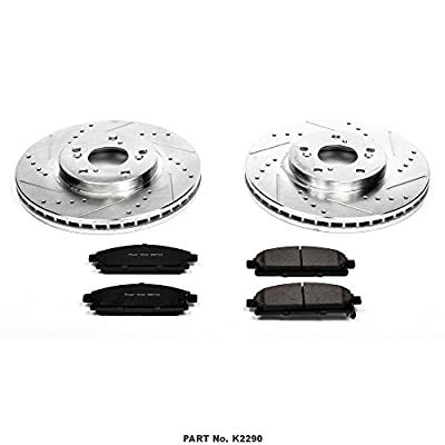 Power Stop K2290 Front Brake Kit with Drilled/Slotted Brake Rotors and Z23 Evolution Ceramic Brake Pads: Automotive