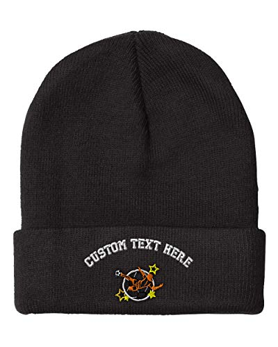 Embroidery Soccer 1 (Custom Text Embroidered Sport Soccer Logo Unisex Adult Acrylic Beanie Skully Hat - Black, One Size)
