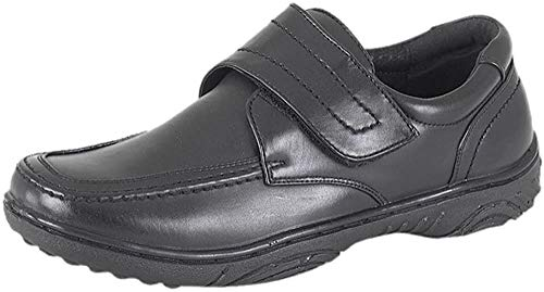 Scimitar © Mens Leather Lined Casual Shoes Hi Shine Touch Fastening & Lightweight Medium Fit Plus x2 Pairs of Extra…