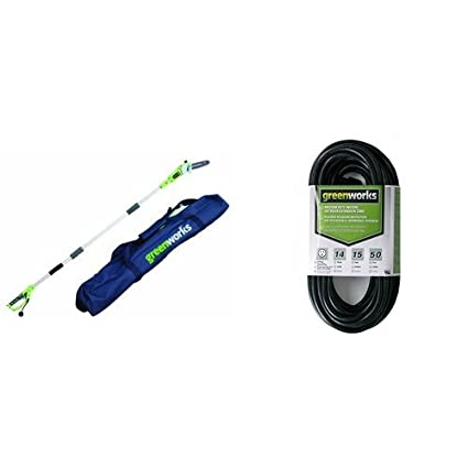 Greenworks 8-Inch 6 5 Amp Corded Pole Saw with Case 20192 with 50-Foot  Indoor & Outdoor Extension Cord ECOA010