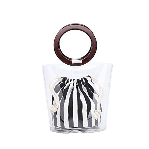 Lam Gallery Womens PVC Plastic Clear Purses for Work Stadium Concert Transparent Handbags Drawstring Bucket Bags-Stripe