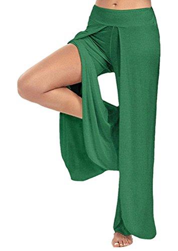 Estivi Libero Eleganti Vita Spacco Fashion Accogliente Tempo Pantaloni Baggy Grün Elastica Femminile Pantaloni Gamba Donna Pantaloni Yoga Monocromo Costume Pantaloni Palazzo Pantaloni Larga Huixin qap10W